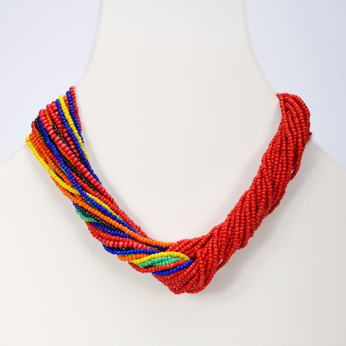 handmade-african-necklace-red multi knot