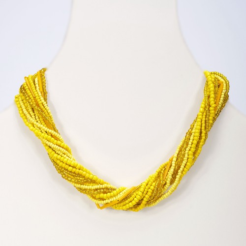 Handmade necklace yellow double