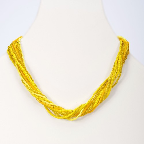 Handmade necklace Single yellow