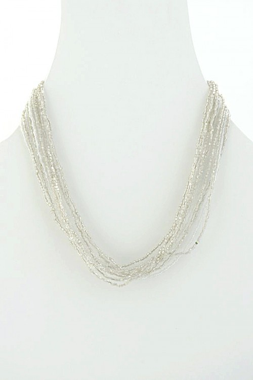 silver glass bead necklace