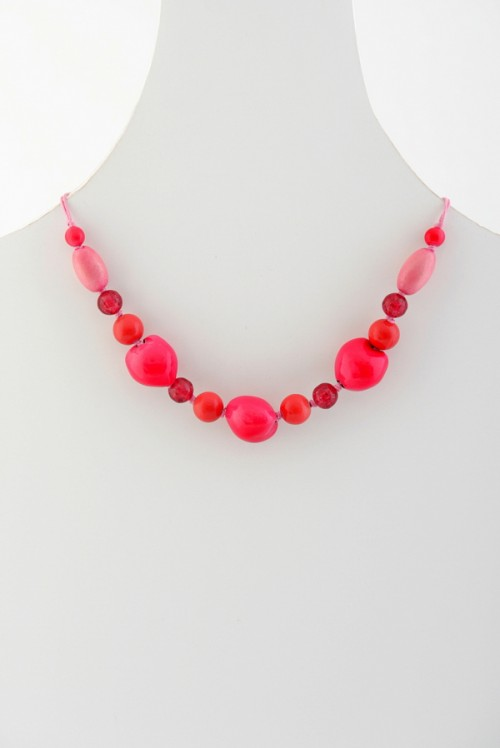 Hot Pink Beaded Necklace (N9196), beaded necklace
