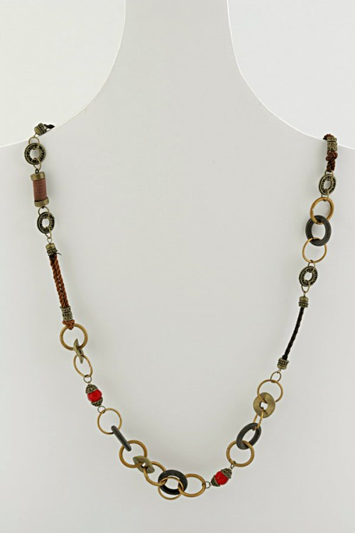 Long necklace in a mix of cord , metallic links and beads in colours of coffee, bronze , khaki and amber