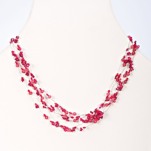 Glass Bead Choker Necklace (N-334)