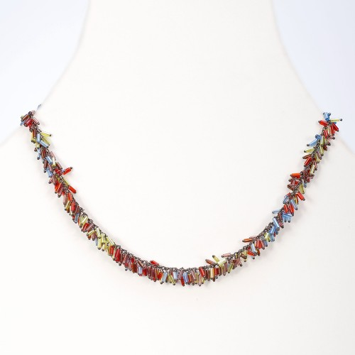 glass bugle bead necklace