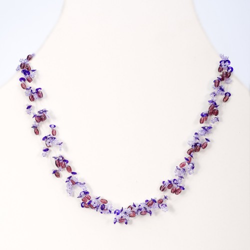 glass bead choker necklace in lilac tones and darker feature.